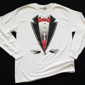 Tuxedo Shirt Suit and Tie Long Sleeve Tee LARGE